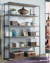 TM-015 American style durable bookcase furniture wrought iron bookshelf