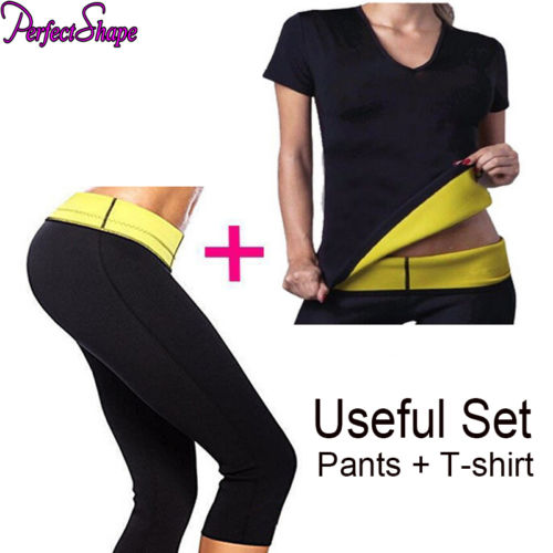 2PCS/LOT WOMEN NEOPRENE BODY SHAPER SET SLIM WAIST PANTS BELT YOGA VEST SHAPERS