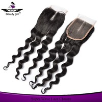 Beauty Girl high quality brazilian hair closure grade 8a virgin hair ,bangs lace closure