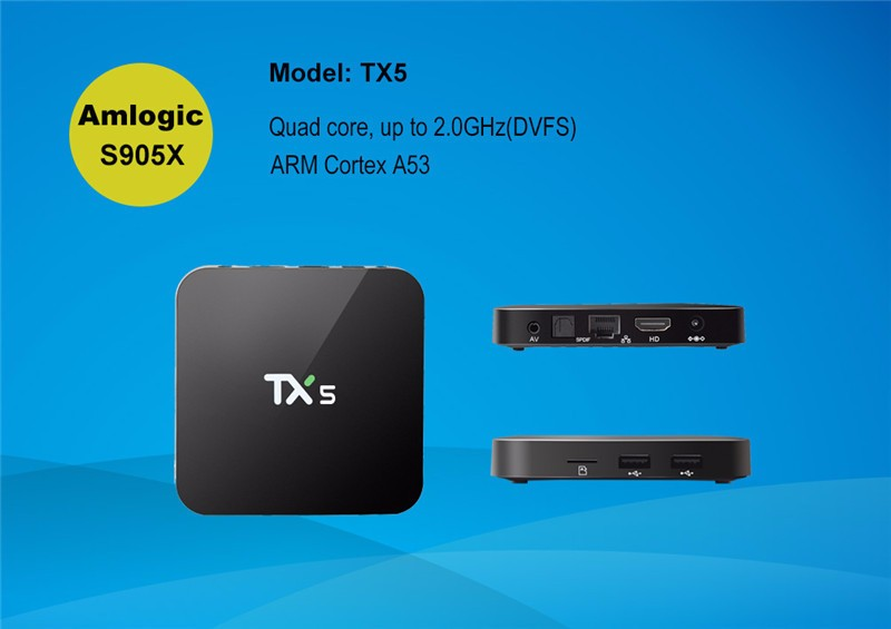 Latest TX5 Amlogic S905X Quad Core Android 6.0 TV BOX 2G/8G KODI 16.1 4K Smart Android Tv box