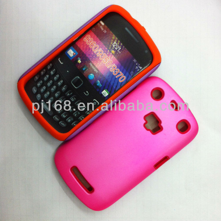 Hot!!TOP sale PC+silica gel combo phone case for blackberry 9350 9360 9370