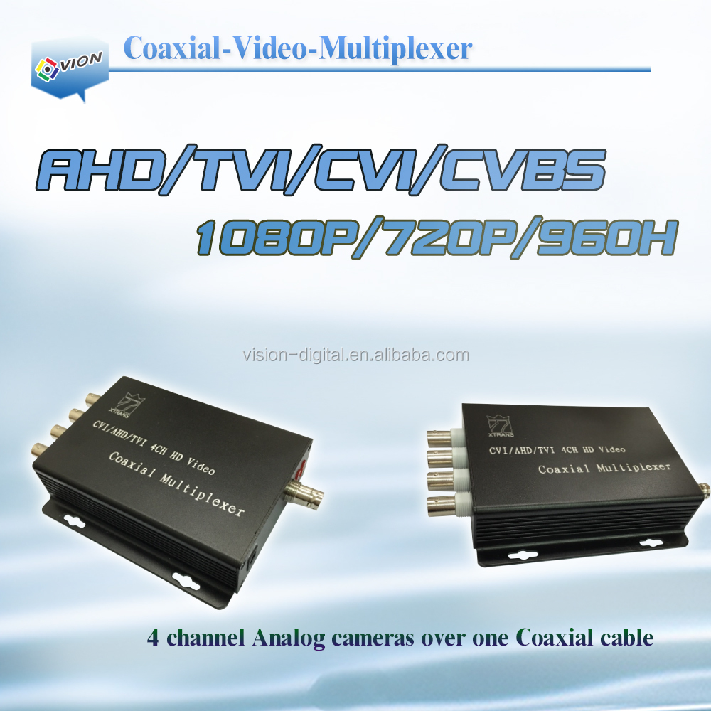 4 Channel analog video multiplexer , Coaxial video transmitter , CCTV multiplexer by coaxial