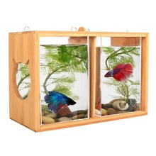 glass fish tank / fish bowl with bamboo rack