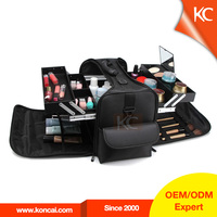 Nylon portable soft-hard combine cosmetic make up cases professional aluminiunm beauty case box aluminium vanity box