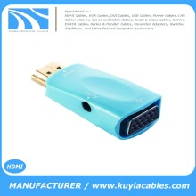 Blue HDMI Male To VGA Female Converter Adapter With Audio Cable For PC HDTV + 3.5mm AV Audio Cable For PC Black