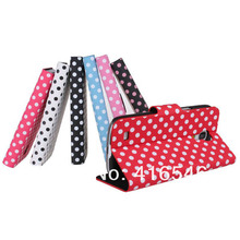 New Polk Dot PU Leather case with Card Holder for Samsung Galaxy s4 mini i9190 Stand Case