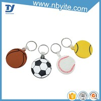 Custome cheap 3d pvc rubber plastic make your own logo football shape sublimation promotion key chain