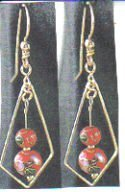 18kt Yellow Gold Cloisonne Dangle Earrings