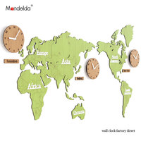 Wholesale Mandelda Classic Quartz World Map Clock Waterproof Modern Large Wood MDF Commercial Decor Watches for Home/Office
