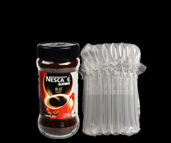 Plastic inflatable air bag packaging for fragile glass bottles