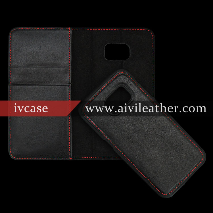 Genuine Leather Detachable Wallet Case For Samsung Galaxy s7 Flip Case Leather