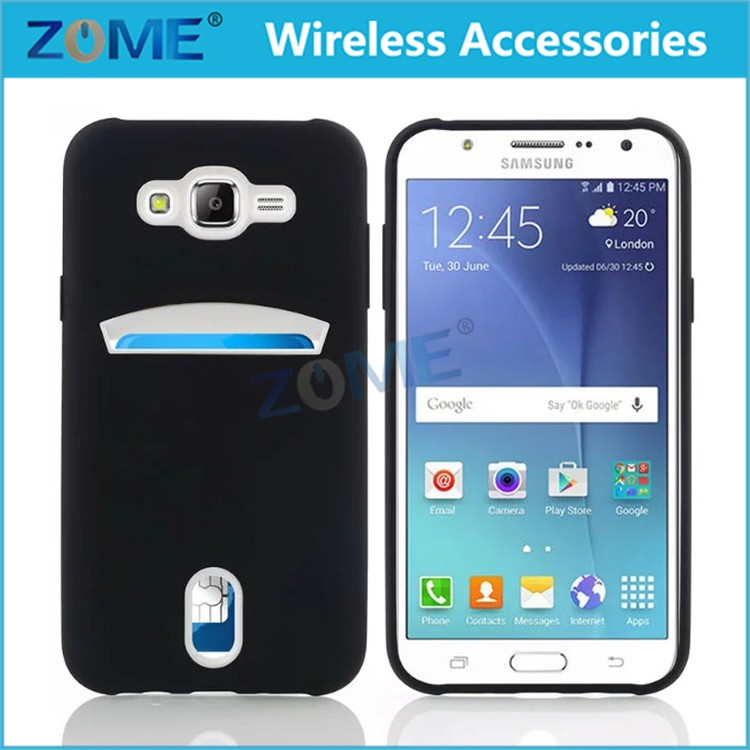 Credit Card Case Protective Hybrid Case with One Card Slot Wallet For Samsung Galaxy J700