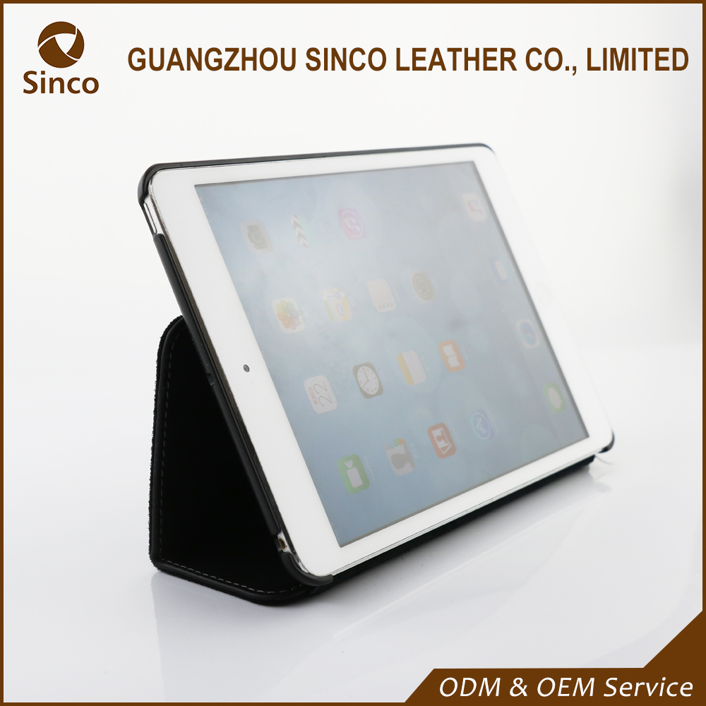 Folding stand genuine leather tablet pc case for ipad mini tablet folio