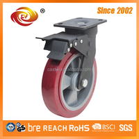 200mm Red PU Total Brake Caster Wheel