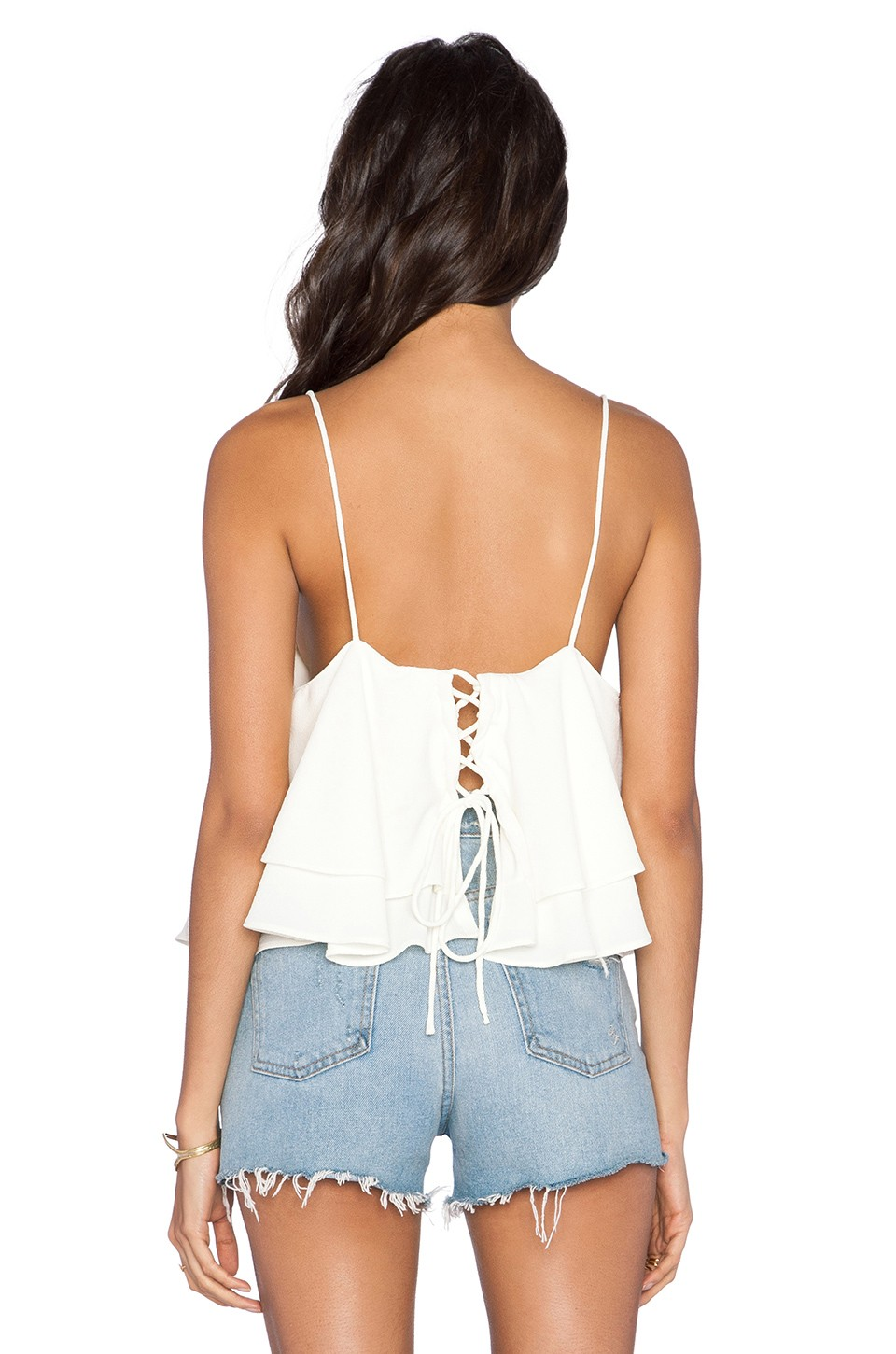 back lace up closure double layered tropical wave crop tops