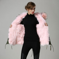 Light pink thickness Fox fur inside winter coat Factory price good quality