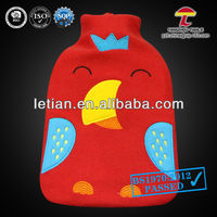 BS hot water bottle with lovely bird fleece cover