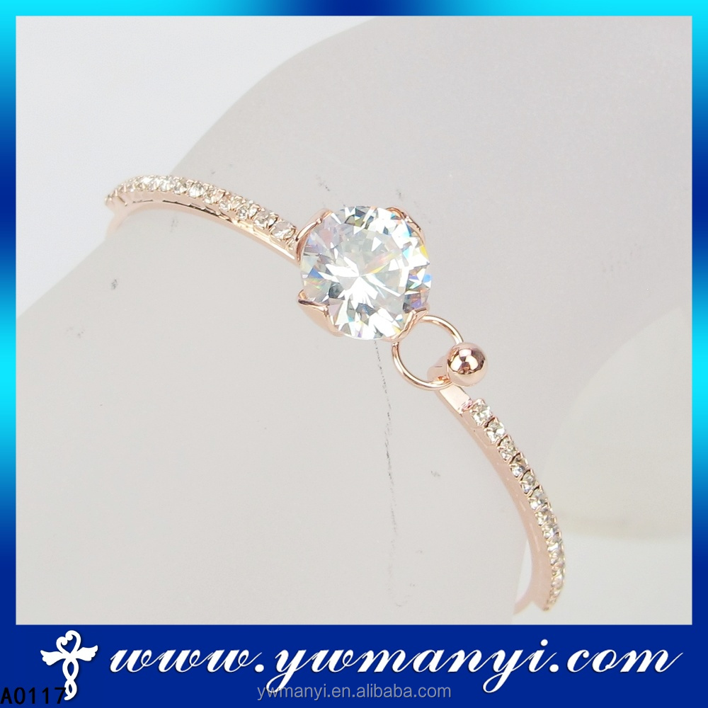 Wholesale Price Rose Gold Color Lovely Turkish Jewelry Crystal Bangle A0117
