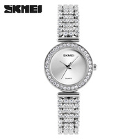 skmei brand ladies watch #1224 japan quartz movement diamond silver watches for women