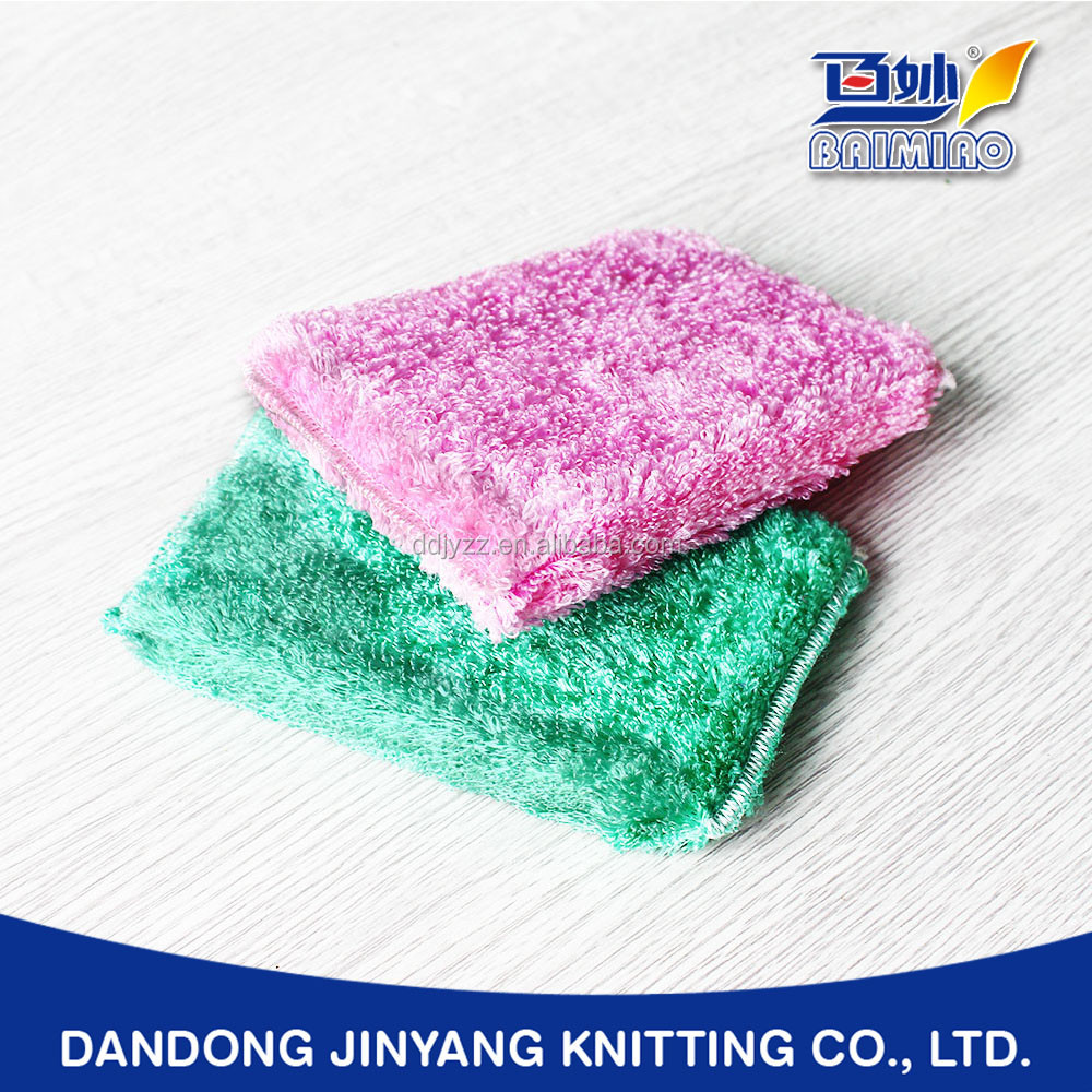 restaurant wiping bamboo or plant fiber customized warp knitting oil free sponge pad scourer