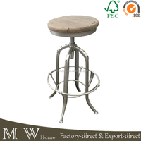 round recycled elm wood stainless steel base bar stool chair, vintage bar stool, stainless steel bar stool