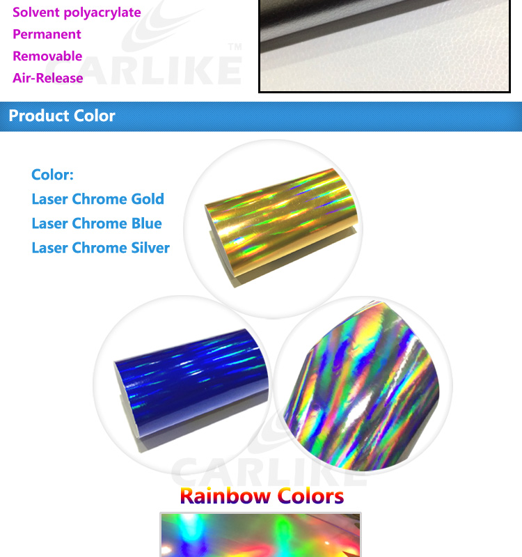 CARLIKE Car Accessories Laser Chrome Holographic Rainbow Hydrographic Film 3M Vinyl Wrap Car Sticker