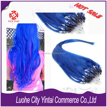 "18"" Loop Micro Ring Beads Tipped Remy Human Hair Extensions 100% Human + Blue"