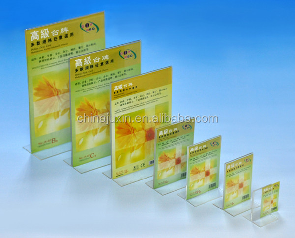 China Golden Supplier Acrylic Sign Holder Transparent Vertical/Horizontal T Shape Sign Holder