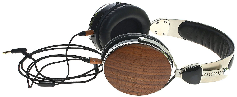 Wraith 2.0 Premium Genuine Wood Headphones with Mic Walnut Wood over ear headphone