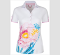 Wholesale Clothes Sportswear women cotton Spandex Girls Golfer Ladies Flower sublimation printing Golf Polo tee Shirt
