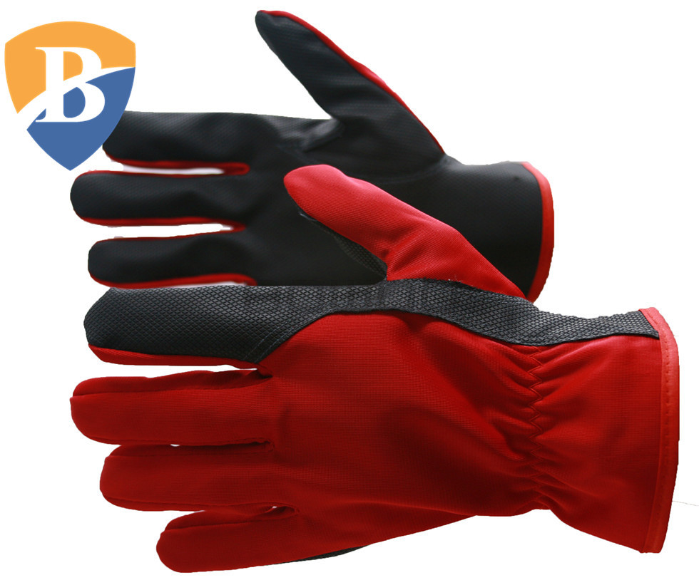Assembly stretch fabric back synthetic leather work gloves