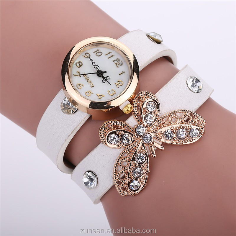 Cheap Price 2016 New Rhinestone Butterfly Casual Dress Watch Women Leather Quartz Watch Ladies Wristwatch Clock hours Reloj