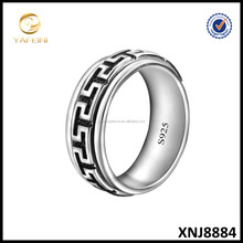 925 Sterling Silver Spinner Ring, Black Band Silver Enternity Ring