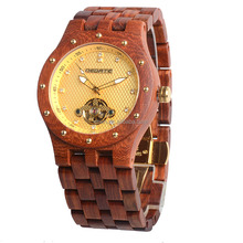 OEM new style Luxury fashion watch mechanical automatic skeleton wooden watch