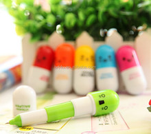Smiling face pill shaped cute carton favor retractable ball pen