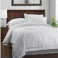white pure linen embroidery bedding duvet set