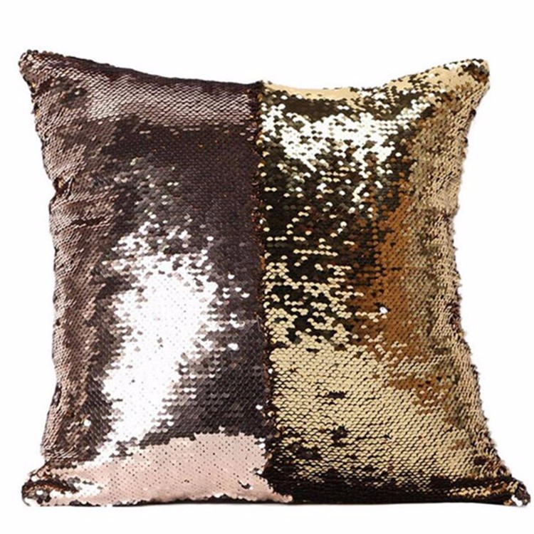 Square sharp mermaid sequin cushion covers small size pillow case back support cushion