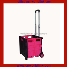 Rolling Plastic Supermarket Box Cart Telescope Folding Trolley