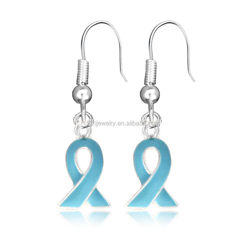 High Quality Fashion Zinc Alloy Ovarian Cancer Awareness Ribbon Drop Earrings