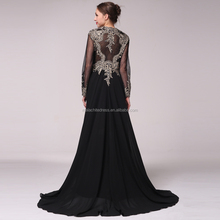 Black Long Sleeve Formal Muslim Evening Dress Dubai arabic Dress With Train