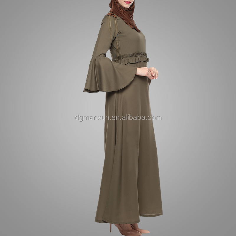 Olive green bell sleeves ruffle waist abayas for women dresses islamic