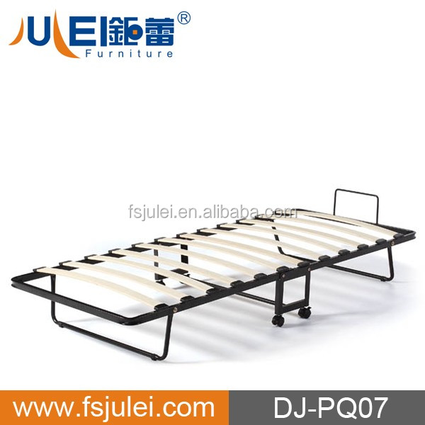 modern slat metal folding bed frame DJ-PQ07 with wheels