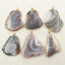 WT-P1018 Exclusive Freedom Natural Persian Gulf Stripe Agate Stone Pendant,Unique Agate With Gold Wrapped Bail Stone Pendant
