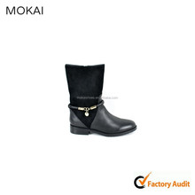 MK001-D8 black kid leather suede women shoes boots