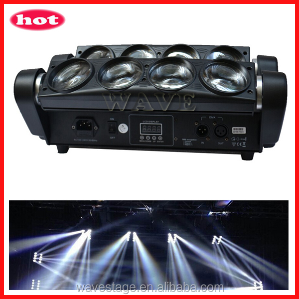 WLED 1-14 New 8 pcs 4 IN 1 RGBW (WHITE) 10W leds beam spider led moving head light lot