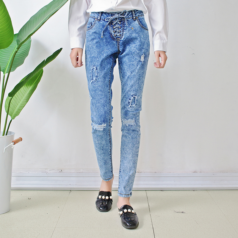 Ladies fashion washed denim jeans acid wash jeans with tied up at front