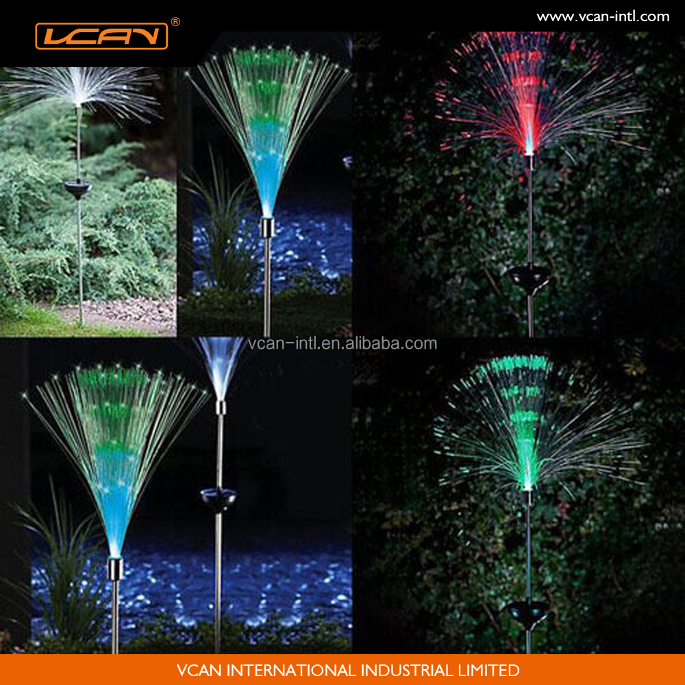 Solar powered fibre optic colour changing led garden outdoor light lamp