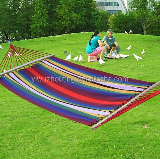 Double size rainbow color cotton made outdoor camping hammock