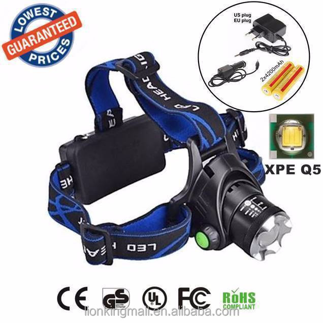 ALONEFIRE HP79 <strong>Headlamps</strong> Headlight Cree XPE Q5 <strong>LED</strong> fishing Hunting Zoomable Head lights Head lamp with 2x18650 battery/charger