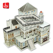 3d mini architecture puzzle Revolving Pavilion diy building model house